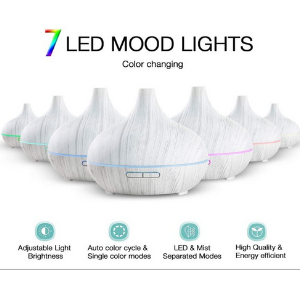 led mood lights, white essential oil diffuser, cool mist humidifier