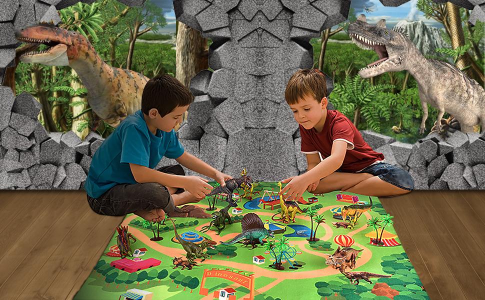 Activity Play Mat & Trees, Educational Realistic Dinosaur Playset