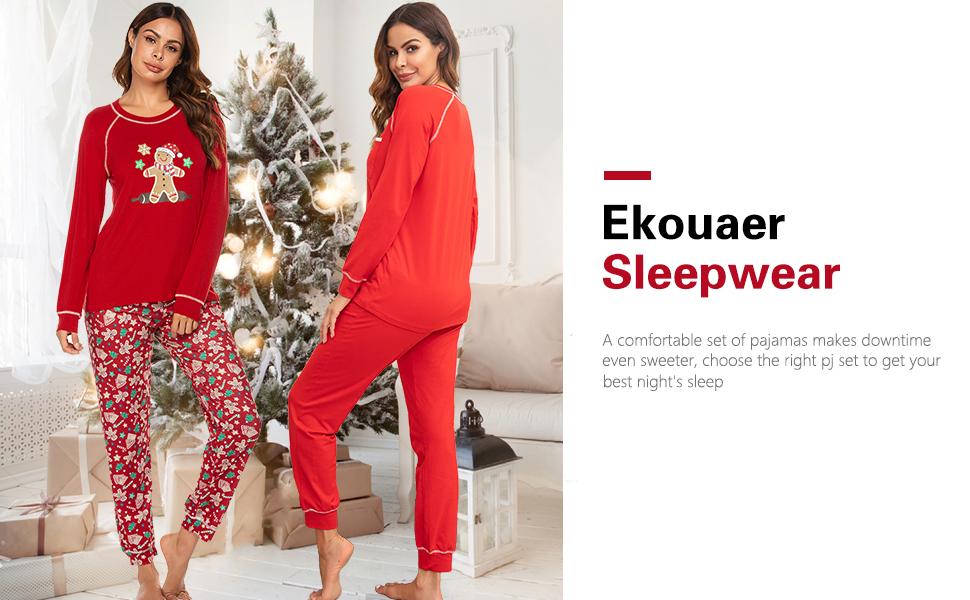 womens red pajamas set