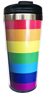 Lesbian Gay Love Rainbow Heart Stainless Steel Tumbler Cup Water Bottle 15 OZ Waldeal LGBT Pride Travel Coffee Mug with Flip Lid Birthday Gift for Boyfriend Girlfriend