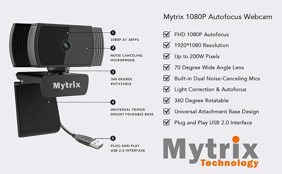 Mytrix 1080P Auto Focus Webcam Highlights