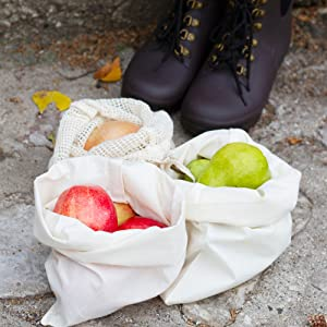 muslin bags with drawstring