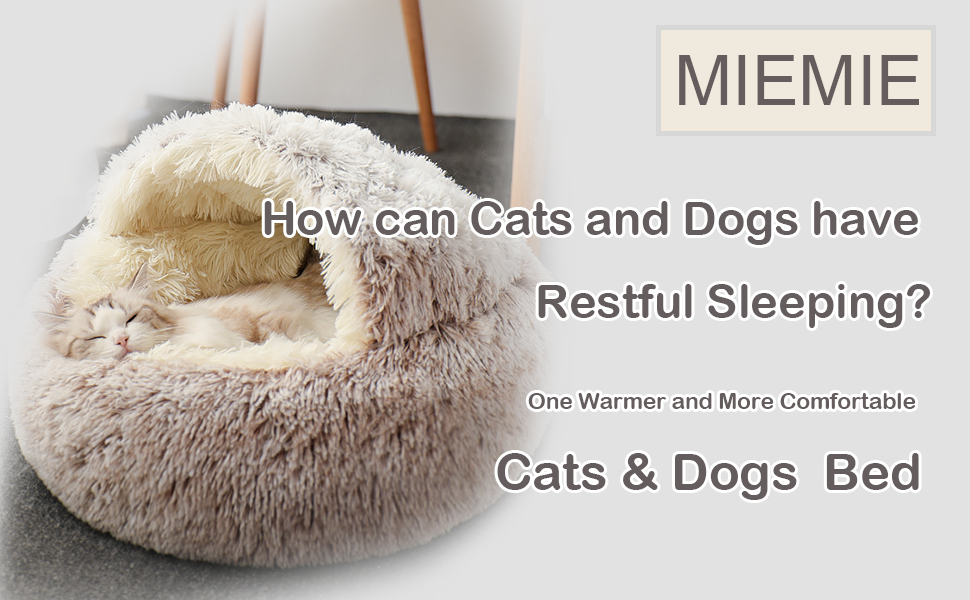 The Original Calming Donut Cat and Dog Bed in Shag Fur, Multiple Sizes Machine Washable