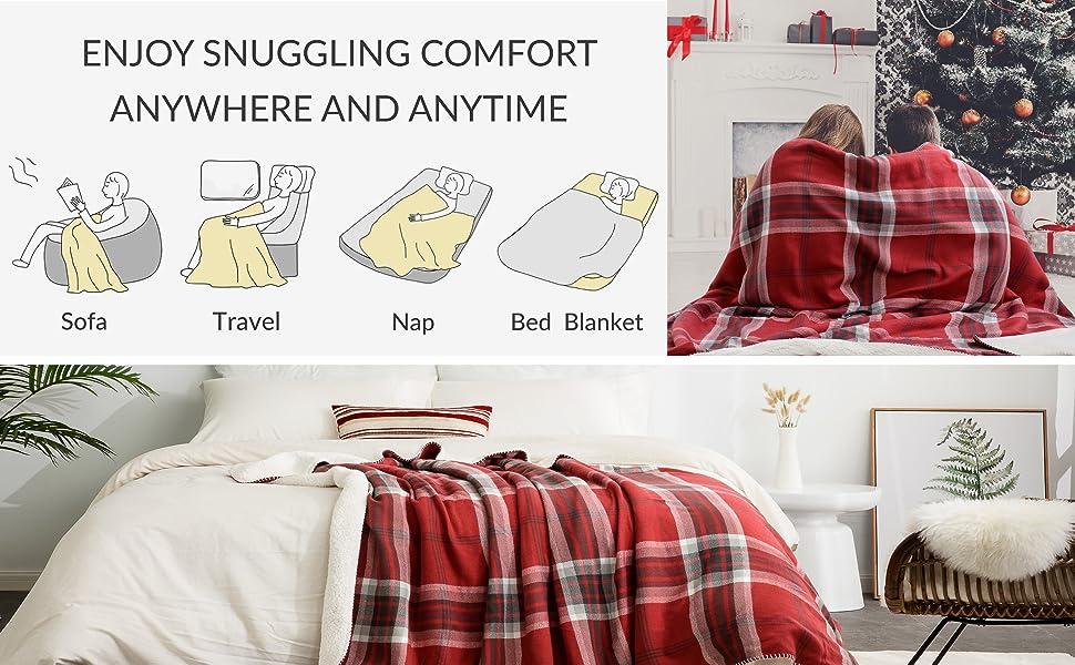Bedsure Manta para Sofas de Sherpa 135x150 cm - Manta para Cama Reversible de 100% Microfibre Extra Suave - Estamapada a Cuadres Negro/Blanco