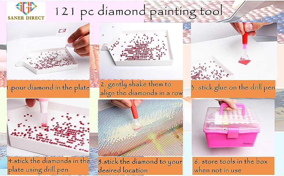 6 Piezas Plumas de Taladro de Punto de Pintura de Diamante LED con Luz Herramienta de Pintura de Diamante 5D 15 Cabezas de Pluma de Repuesto 20 Pegamentos Arcilla de Pintura para Arte U/ñas