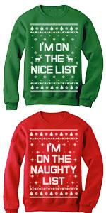 Xmas Nice list Naughty List Ugly Christmas Set Funny Holiday Party Sweatshirts
