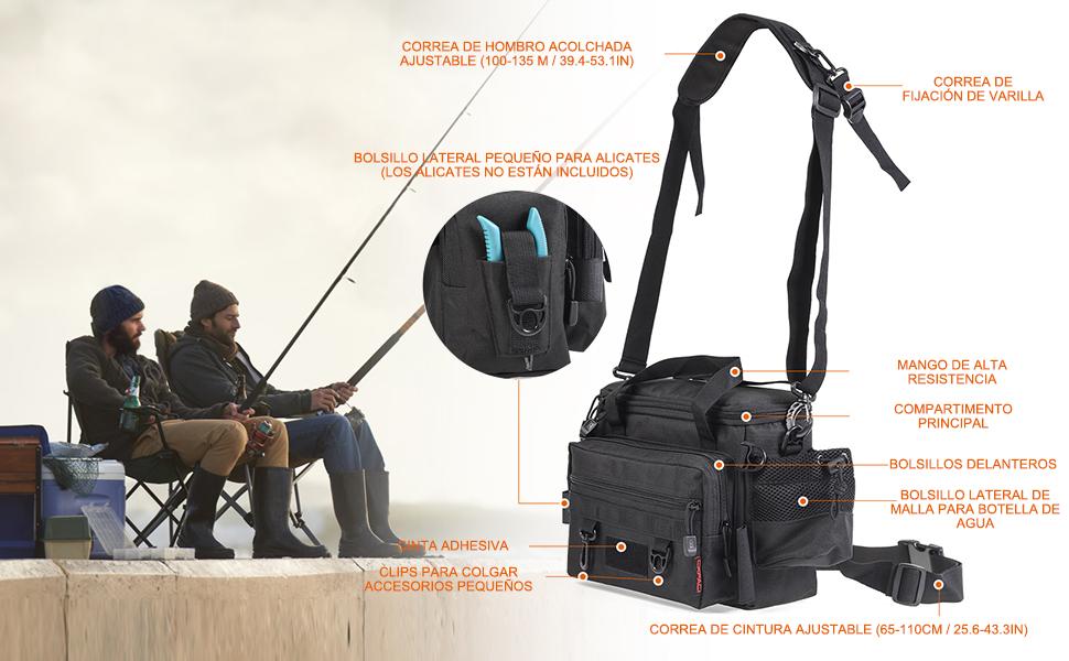 Lixada Bolsa de Pesca Multifuncional Gran Capacidad Impermeable Bolsa de Hombro Tackle Pack para Pesca al Aire Libre: Amazon.es: Deportes y aire libre