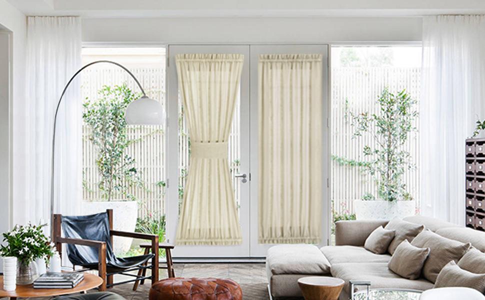 beige french door curtain