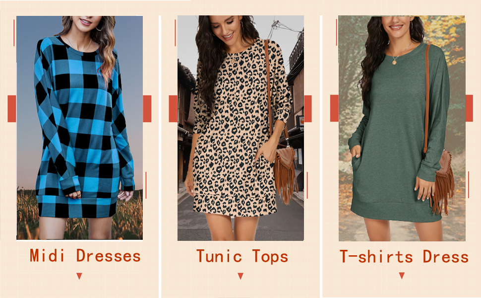PrinStory Womens Long Sleeves Causal Loose Round-Neck Tuinc Tops Basic Dress With Side Pockets