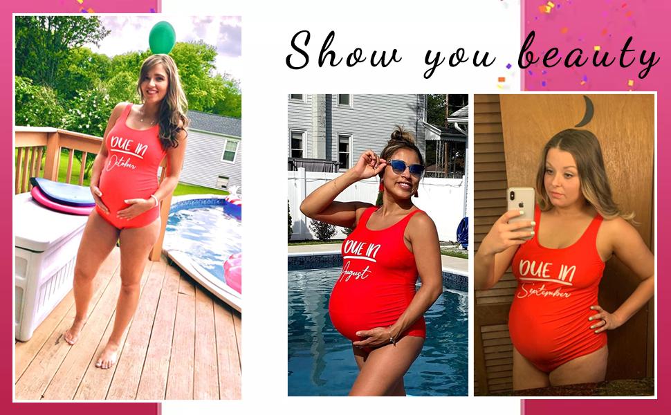 cute one piece maternity swimsuit