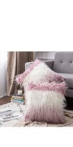 faux fur pillow covers ombre gradient color pink blush