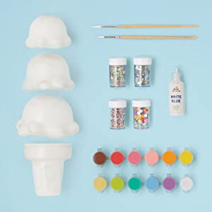 ice cream cone art supplies painting sequins glue storage brushes triple diy art for kids