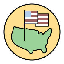United States icon with American Flag icon on yellow background