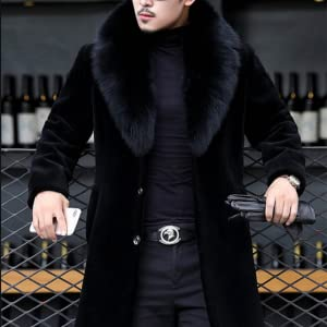 Tngan Faux Fur Coat Parka Jacket Womens Black Long Outwear Winter Overcoat