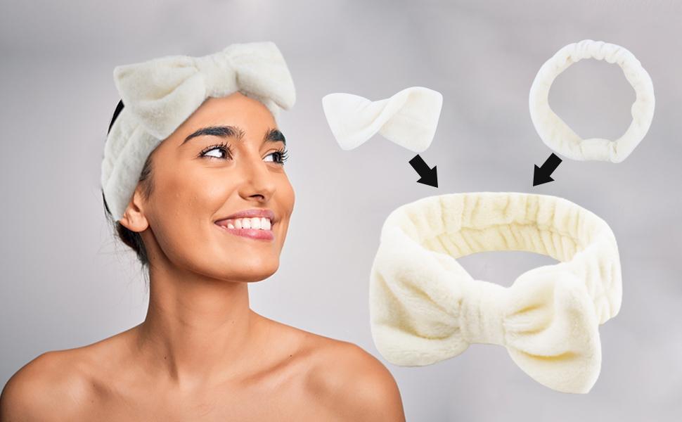 Microfiber Headbands Soft Elastic Bowknot Makeup Hair Bands Wash Spa Shower Headbands
