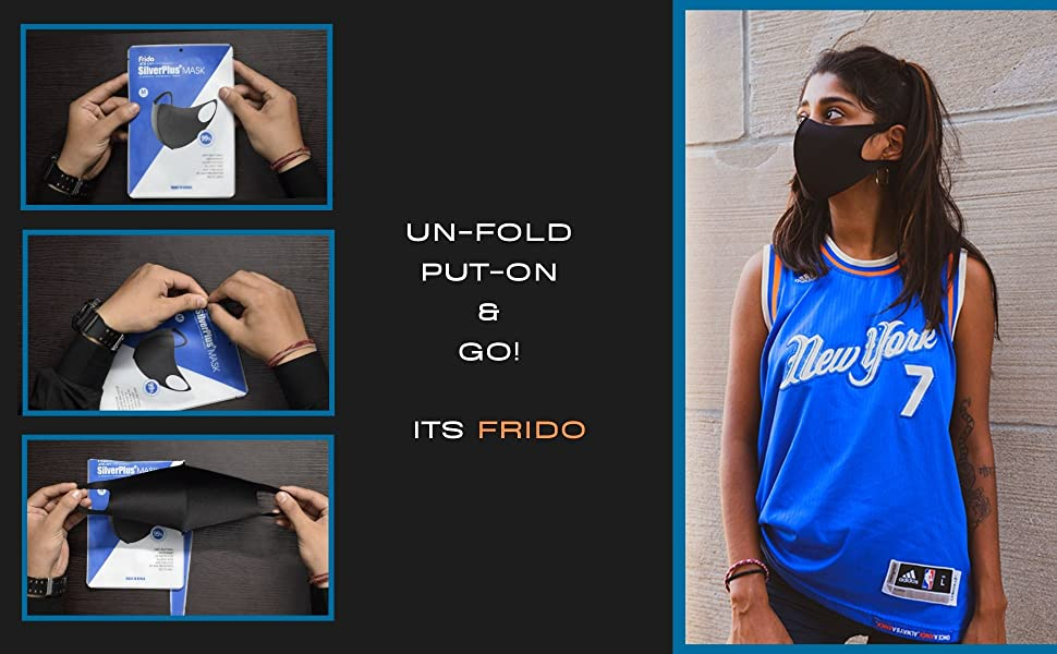 Unfold Put on and Go with frido silver plus mask