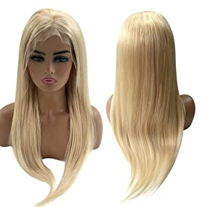 613 Blonde Wig Deep Part 13x6 Human Hair Lace Front Wigs Silky Straight Pre-Plucked Hairline