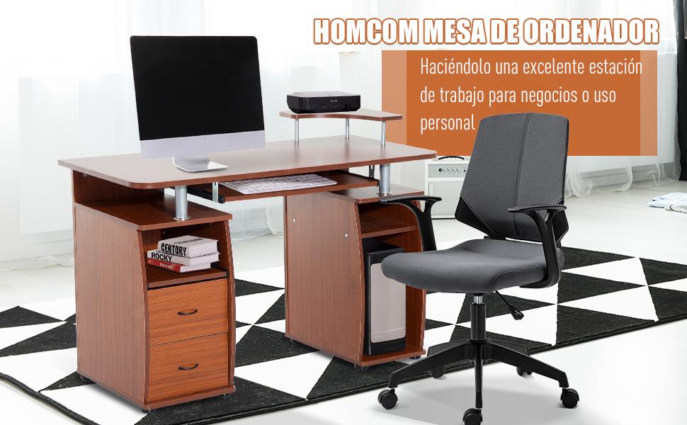 HOMCOM Mesa de Ordenador PC Oficina Despacho Dormitorio Hogar ...