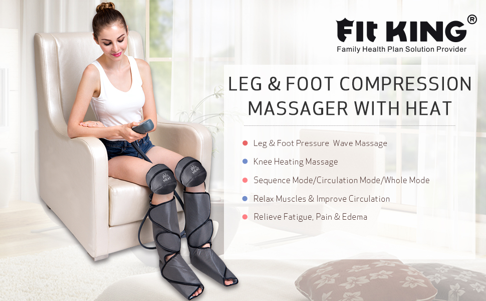 FIT KING Air Compression Foot and Leg Massager for Circulation with Knee Heat