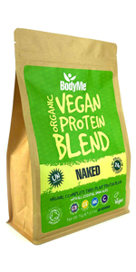 BodyMe Organic Vegan Protein Powders Blend or Plant Based Vegan Protein Powder - Naked Natural