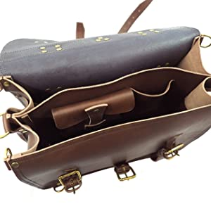 Interior of Double Space Leather Briefcase, Dark Brown