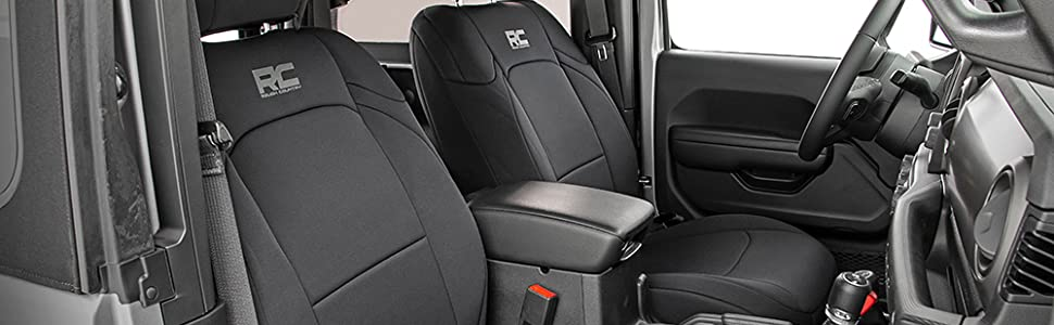 Rough Country Neoprene Seat Cover Fit 18-19 Jeep Wrangler JL 4DR Armrest Black