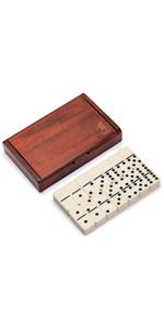 Jumbo Tournament Double 6 Dominoes (Pips/Dots) Game Set w/ Dark Oak Wooden Case