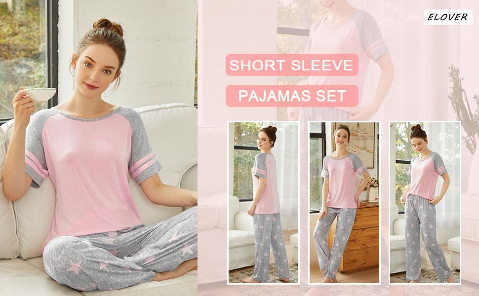 ELOVER Women Pajamas Set Pink Two-Piece Pj Sets Sleepwear Short Sleeve Top & Pants Cotton Loungewear