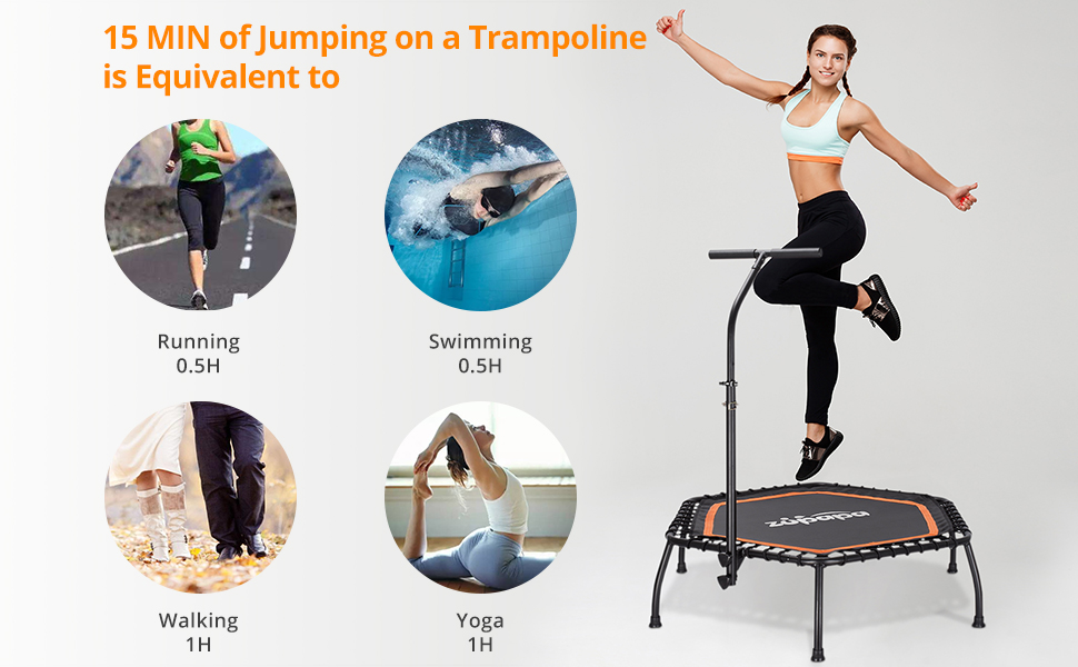 Mini Fitness Trampoline With Handrail Bar-Hexagon
