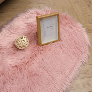 Super Soft Round Rug Faux Fur Wool Oval Carpet Fluffy Shaggy Kids Play Mat Girls Runner Area Rug