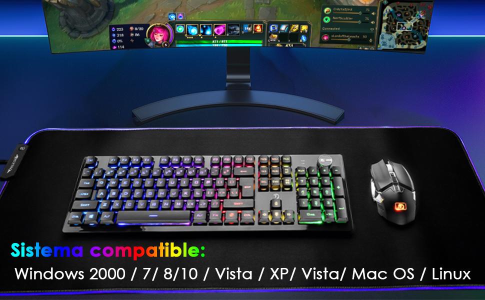 FELiCON Ratón inalámbrico con Teclado para Juegos, 4800 mAh, Teclado para Juegos Recargable con retroiluminación RGB con Control de Perilla + Mouse ...