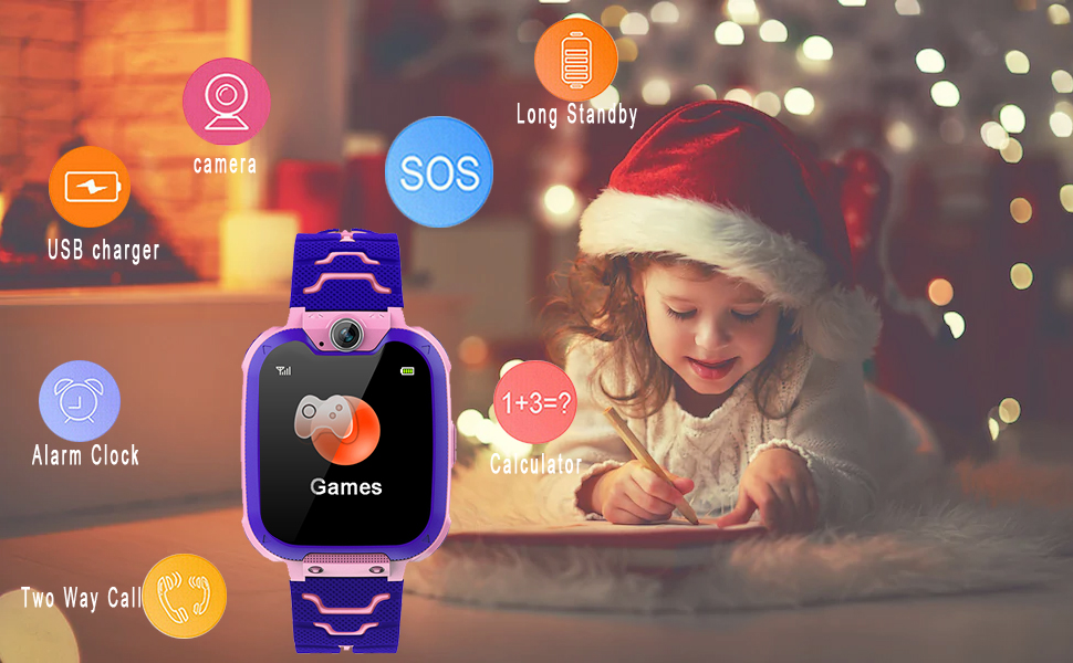 SOS, Tow-Way Call, Camera and Music Player, Kids Phone Watch with SD Card