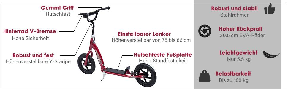 Tretroller Cityroller Kinder Roller Scooter höhenverstellbar 12 Zoll Stahl Blau