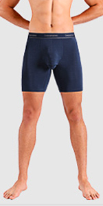 Separatec men's underwear with 8 inches long leg length sport performance boxer briefs