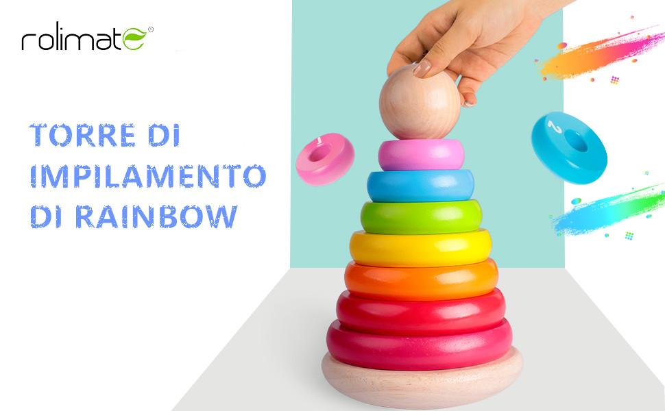 rolimate Giocattolo educativo di Legno Giocattolo impilatore ad Anelli in Legno per Neonati Rainbow Tower Giocattoli in Legno Rainbow Stacking per