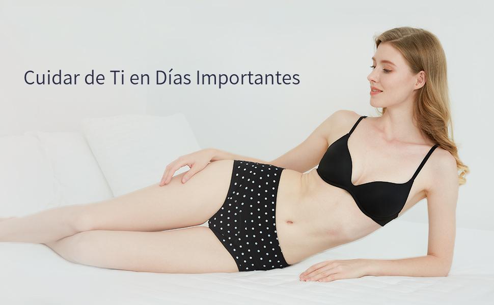 INNERSY Mujeres Bragas Período Menstruales de Cintura Alta de Algodón Protección Ropa Interior Pack de 3