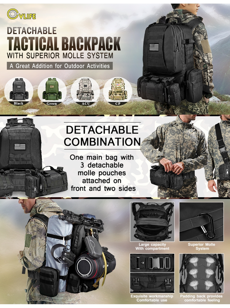 CVLIFE Outdoor Built-up Military Tactical Backpack Army Rucksacks 3 Day Assault Molle Pouch Bag