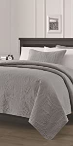 Austin 3-Piece Bedspread Set, Gray