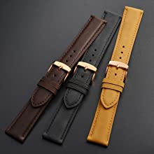 WOCCI leather watch strap dark brown tan black colours golden buckle for retro wristwatch sport band