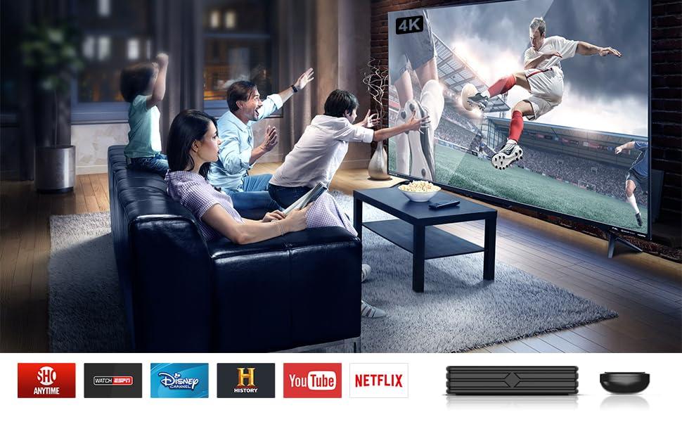 Bqeel Última 9.0 TV Box 【4GB RAM+64GB ROM】 Android TV Box RK3318 Quad-Core 64bit