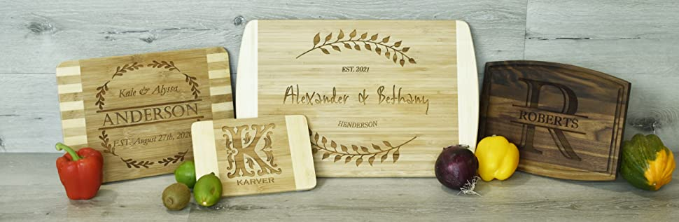 4 Personalized Custom Engraved Bamboo Walnut cutting boards show with vegtables and fruit