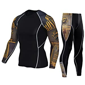 Men Casual Compression Long Sleeve Tops Leggings Thermal Base Layer Gym Trousers