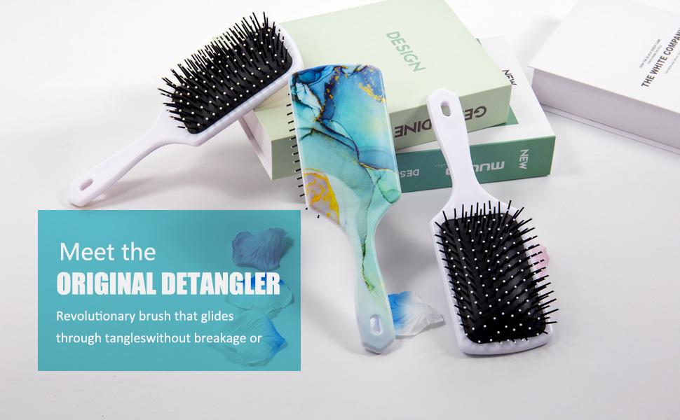 Marble texture hair brush comb Square detangler brush