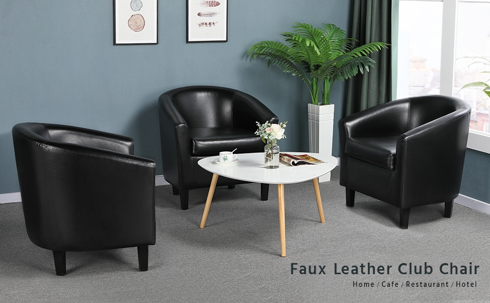 Amazon Com Yaheetech Accent Chairs Set Of 2 Faux Leather Barrel Chair Side Chairs Club Chair For Bedroom Living Reading Room Black Furniture Decor