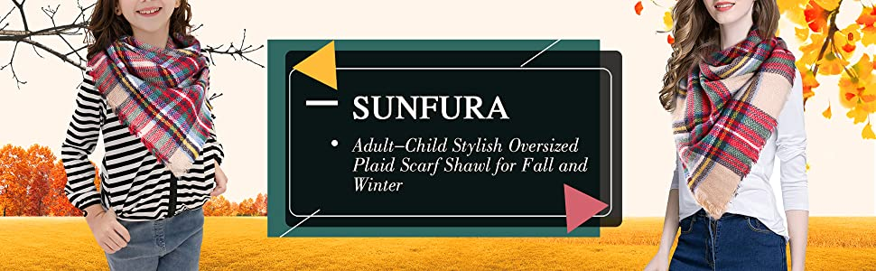 SUNFURA Adult-Child Stylish Oversized Plaid Scarf Shawl for Fall and Winter