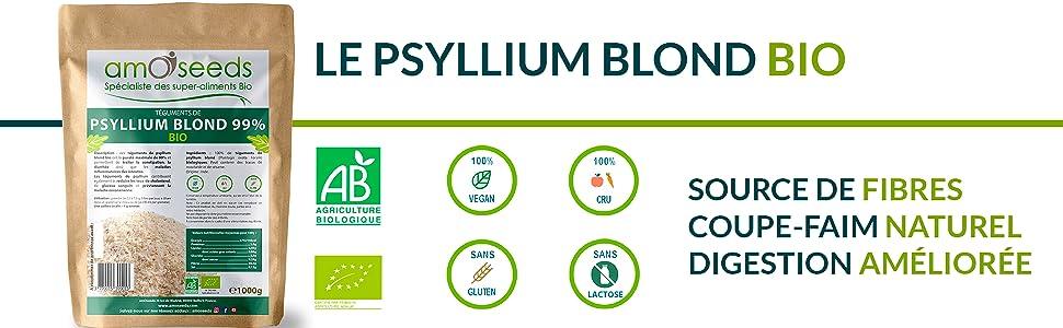 amOseeds Le Spécialiste des Super-Aliments Bio Psyllium Blond Bio