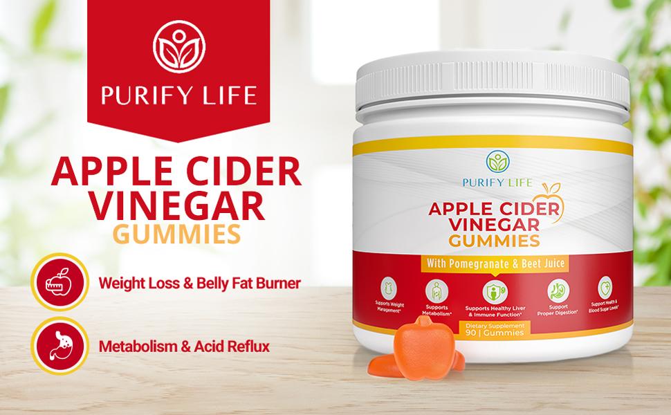 apple cider vinegar purify life gummies support weight management increase metabolism detoxify