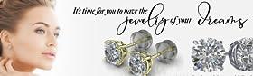 Web Gems Silicone Sliders Cubic Zirconia Swarovski Diamond Stud Earrings