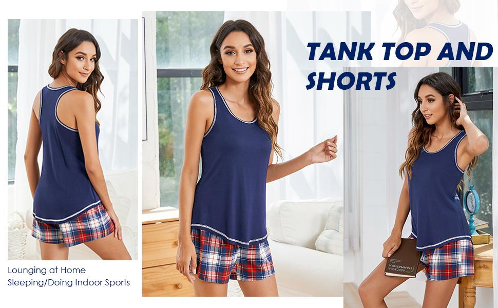2-Piece Pajamas Set Tank Top and Short Sleepwear for Women