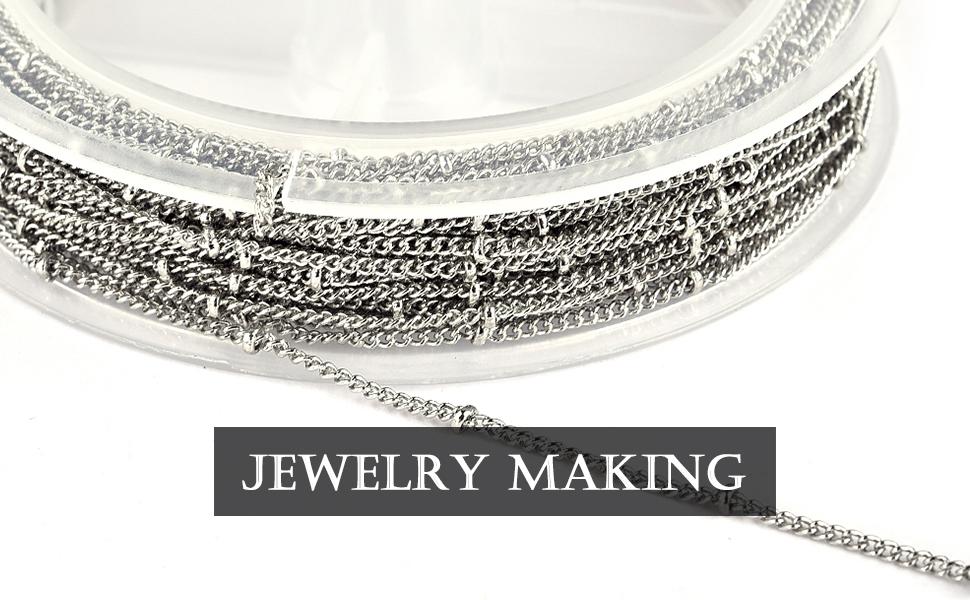 JIAYIQI 33 Feet Rose Gold Doudou Chain Spool Bulk for Craft DIY Jewelry Making